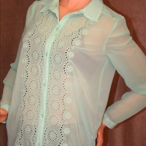 LC Lauren Conrad Tops - Lauren Conrad Sheer Embroidered Button-down Shirt